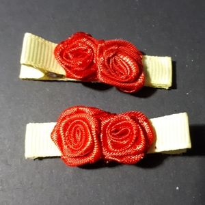 Other - Handmade Kiddie Clips - Red Roses
